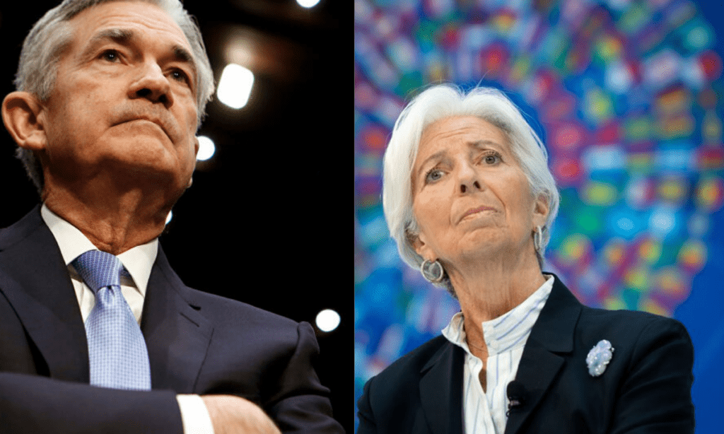 Chairman of the Federal Reserve, Jerome Powell is on the left,  President of the European Central Bank, Christine Lagarde is on the right.