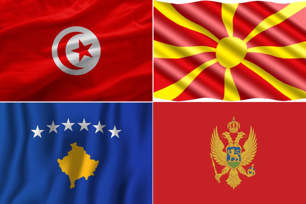 upper left Tunisian Flag, upper right Macedonia Flag, bottom left Kosova flag and bottom right Montenegro flag.