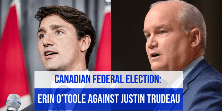 Prime Minister Justin Trudeau on the left, Conservative Party Leader Erin O'toole on the right with a copy on text about Justin Trudeau's snap election request